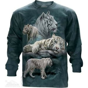 The Mountain White Tiger Collage Long Sleeve Shirt